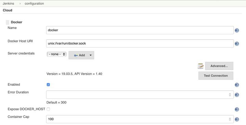 Jenkins Cloud Docker Settings